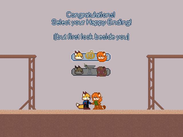 Congratulations! Select your Happy Ending! (but first look beside you)
